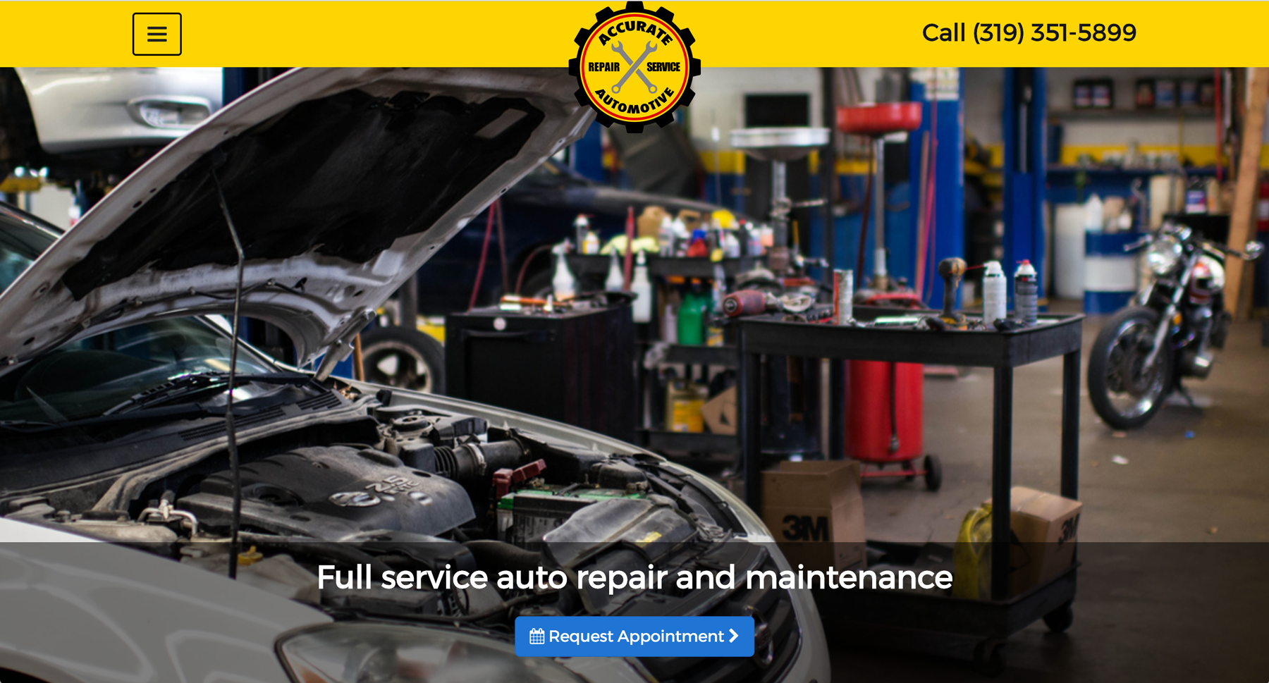 Screenshot of Accurate Automotive website homepage